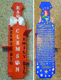 Kappa Alpha Theta paddle I made for one of my Littles. She is on the Clemson Diving team so I made her paddle look like the diving platform at our school. She also loves Disney and used to swim, too, so I went with a Little Mermaid theme for the back.