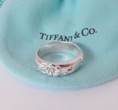 0f14e3792 Tiffany & Co Size 6 Silver Nature Rose Flower Ring Band w Pouch Retired  Design