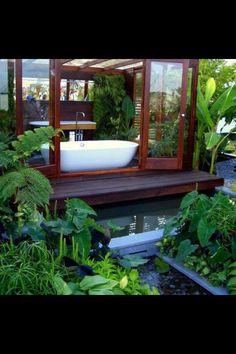 Backyard bathtub. I could soak for hours in that tub.
