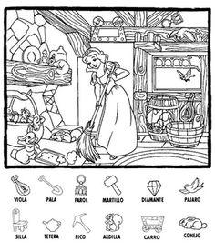 사진: Atención Dyslexia Activities, Color Activities, Reading Activities, Preschool Activities, Disney Coloring Pages, Coloring Books, Hidden Picture Puzzles, Hidden Pictures, Hidden Pics