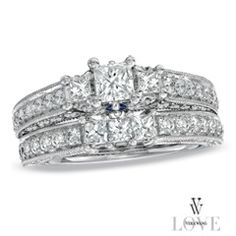 Vera Wang LOVE Collection 2 CT. T.W. Princess-Cut Diamond Three Stone Bridal Set in 14K White Gold - View All Rings - Zales