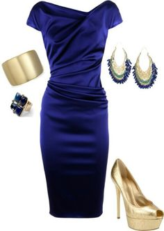 Wedding Style - Cute outfit to attend a wedding in. Love the cobalt and gold together.