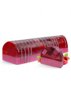 Big Raspberry Delight Soap Cake | LeSoie Cosmetics This delicious soap on a pink base soap is embedded with white and pink blocks. The aroma of sweet, summer, fruity blend of sun ripened strawberries and fresh raspberry and a hint of green leaf, makes your day perfect!