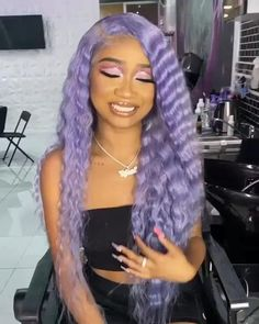 Gamay Hair Lavender Purple Straight Full Lace Hair Wigs for Women # cornrows Braids videos Lavender Purple Straight Full Lace Hair Wig Purple Hair Black Girl, Light Purple Hair, Green Hair, Purple Wig, Purple Weave, Dark Purple, Dope Hairstyles, Braided Hairstyles, Medium Hairstyles