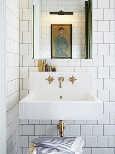 White bathroom tiles with dark joints ©Michael Graydon - like for a powder room