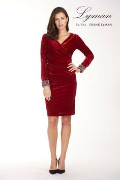 Pearl cuff velvet dress with flattering side ruching. Proudly Made in Canada