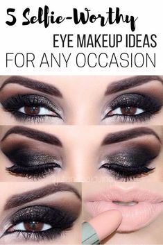 5 Selfie-Worthy Eye Makeup Ideas For Any Occasion, with makeup products list, winged eyeliner #tutorial, smokey eyes makeup, #eyeshadow and lipstick colours, party #makeup