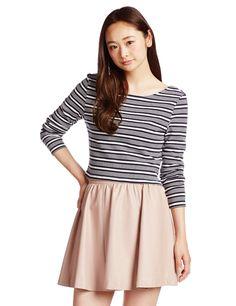 (フレイ アイディー)FRAY I.D マルチボーダーロングTシャツ FWCT142793 WHTxNVY F : 服&ファッション小物通販   Amazon.co.jp