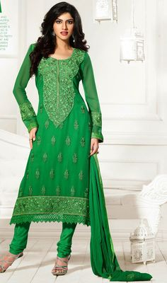 Stand out in a crowd with this green georgette embroidered churidar kameez. The ethnic lace, patch, resham and stones work within apparel adds a sign of attractiveness statement with your look. Churidar, Salwar Kameez, Punjabi Salwar Suits, Indian Fashion, Womens Fashion, Pakistani Outfits, Dress Collection, Georgette Dresses, Feminine