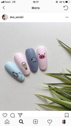 Semi-permanent varnish, false nails, patches: which manicure to choose? - My Nails Dream Nails, Love Nails, Pig Nails, Pig Nail Art, Unicorn Nails, Cute Acrylic Nails, Manicure E Pedicure, Nagel Gel, Nail Art Designs
