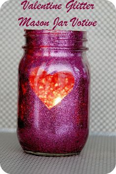 Valentine Glitter Mason Jar Tutorial!! I can see this with old spaghetti jars, etc. Maybe next year when we have more!