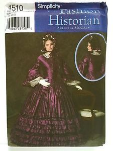 Civil War Day Dress Gown Costume Patterns Simplicity 4510 NEW Sizes 16-24 T3