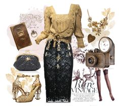 """""""Vintage Pencil Skirt"""" by lathronniel ❤ liked on Polyvore featuring Alexander McQueen, WithChic, Stefano de Lellis, Dolce&Gabbana and vintage"""
