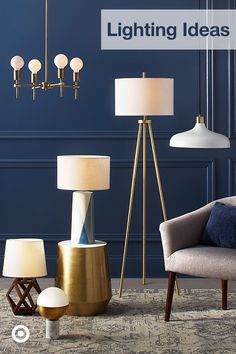 Ellis Tripod Floor Lamp Brass/White (Lamp Only) - Project 62 Decor, Tripod Floor Lamps, Lighting Collections, Barrel Chair, Brown Lamps, Metal Accent Table, Brass Floor Lamp, Table Lamp Wood, Free Standing Lamps