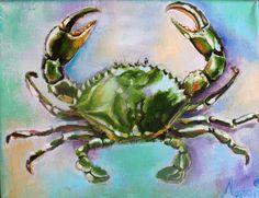 coastal painting coastal art painting of a crab  by LenaNavarroArt