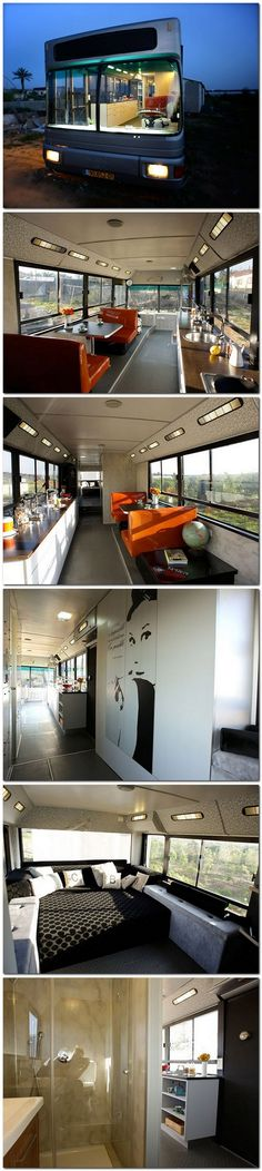 Israeli Public Bus Transformed Into Luxury Home: Sweet Ride.,Israeli Public Bus Transformed Into Luxury Home: Sweet Ride. If it were almost half the length and slightly taller, it'd be perfect. Bus Living, Tiny House Living, Mobile Living, Mobile Home, Bus House, Bus Life, Bus Conversion, House On Wheels, Luxury Homes