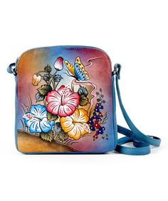This Biacci Blue Zip-Top Hand-Painted Leather Crossbody Bag by Biacci is perfect! #zulilyfinds