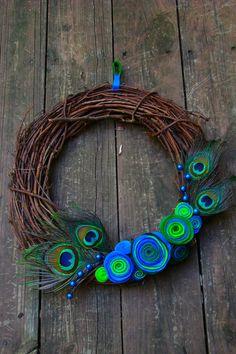 Peacock Wreath by lakmep on Etsy, $30.00