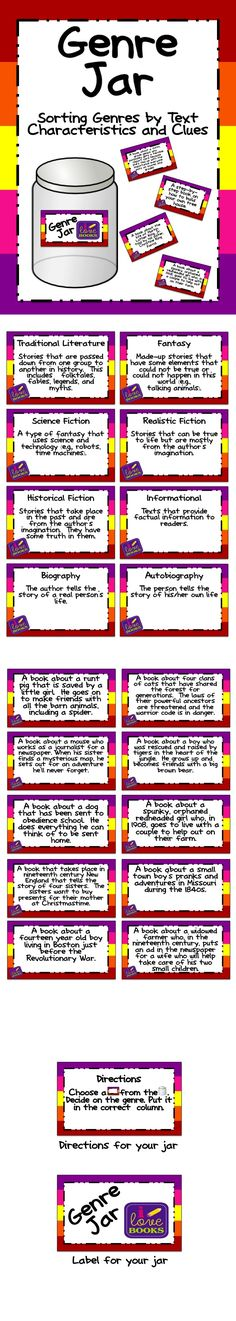 Genre Jar. Help students learn the different genres with this genre sort. TpT. $4.50