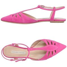 Cesare Casadei Ballet Flats ($570) ❤ liked on Polyvore featuring shoes, flats, fuchsia, fuschia flats, flat slingbacks, ballet shoes, flat slingback shoes and fuchsia ballet flats