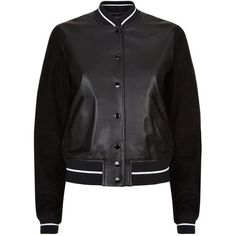 Rag & Bone Alix Leather Varsity Jacket found on Polyvore featuring outerwear, jackets, varsity bomber jacket, letterman jackets, real leather jacket, varsity jacket and college jacket