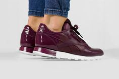 """The Reebok Classic Leather Matte Shine """"Maroon"""" Sees Glossy Accents"""
