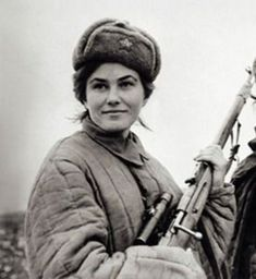 """Lyudmila Pavlichenko, Soviet sniper during WWII. A student at the time, Pavlichenko was among the first to volunteer for the armed forced when the Soviet Union was invaded and declined the opportunity to serve as a nurse instead of a soldier so as to pu"
