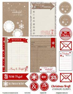 Free Printable Download - Christmas Kraft Journaling Elements