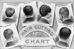 An Illustration print of a classic Barber Shop Haircut Chart, 1884.