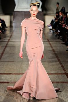 Tanya Dziahileva on the runway for Zac Posen, F/W 2012/13.