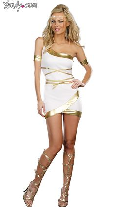 Two piece Greek Goddess Halloween Cosplay set Includes: Gold lamé trimmed goddess dress Arm Bands Also shown but not included: Headpiece Fabric: Knit - Polyester -Exclusive of Decoration Imported Roman Goddess Costume, Goddess Halloween Costume, Goddess Dress, Halloween Party Costumes, Halloween City, Halloween College, Cheap Halloween, Dog Halloween, Christmas Costumes