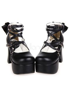 50e29e40661a Handmade Black PU Leather High Heel Classic Lolita Shoes with Bow 2016 -