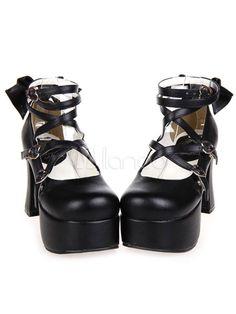 c9fcffc2be1f Handmade Black PU Leather High Heel Classic Lolita Shoes with Bow 2016 -