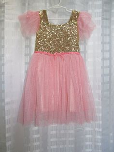 Blush Pink and Gold Sequin Dress Peach Girls Birthday Party Dress Outfit 2T 3T 4 5 6 7 Sparkly Glittery Tulle Tutu