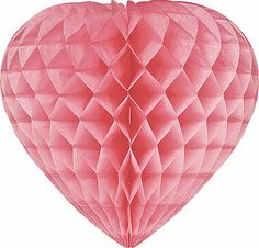 Pink 10 Inch Paper Honeycomb Heart