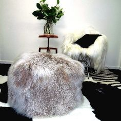 TIBETAN LAMB POUFFE TAUPE FROST TIPPED - Decor Hides - Cowhide Rugs & Hair On Hides