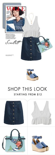 """Button Skirt"" by monmondefou ❤ liked on Polyvore featuring Burberry and Chloé"
