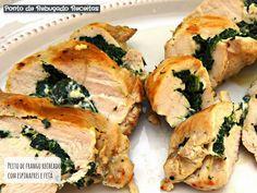 Peito de frango recheado com espinafres e feta