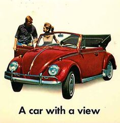 1966 Cadillac Deville Convertible Advertising Postcard Volkswagen Beetle Convertible, A car with a view. Volkswagen, Vw Bus, Vw Vintage, Poster Vintage, Cabrio Vw, Cadillac, Vw Modelle, Mustang, Beetle Convertible