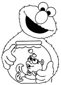 sesame street elmo holding fish bowl in sesame street coloring page