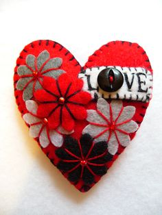 Items similar to - Hot Red LOVE Heart Shape Handmade Felt Brooch For Your Loved One - Made to order on Etsy Brooches Handmade, Handmade Felt, Valentine Crafts, Valentines Day, Fabric Hearts, Felt Embroidery, Felt Christmas Ornaments, Christmas Hearts, Felt Brooch