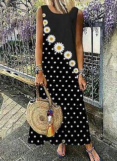 Womens T Shirt Dress, Tee Dress, Floryday Vestidos, Maxi Robes, Polka Dot Print, Polka Dots, Spring Dresses, Dress Summer, Spring Summer