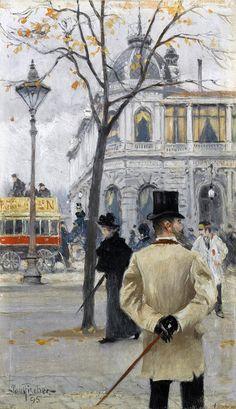 Paul Gustave Fischer (Danish painter) 1860 - 1934 Vesterbrogade (København) (Vesterbrogade (Copenhagen), 1895 oil on panel 22.5 x 13.5 cm