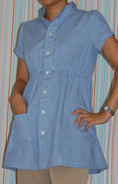 :: clevergirl.org ::: 105. Refashion 11: Grainger Empire Waist Shirt from Men's Button-Down Shirt