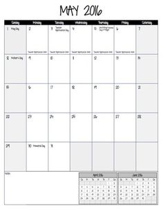 Editable calendar pages for 2015-2016 school year