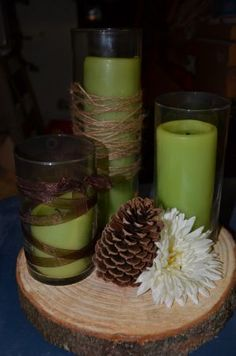 rustic wedding centerpieces - wood rounds, with candles