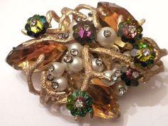 Most Fabulous 1950's Vintage Rhinestone Pin Earrings Signed Schiaparelli | eBay