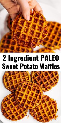 Paleo sweet potato waffles- made with 2 ingredients! These whole30 and paleo waffles are ready in just five minutes! They can be made ahead and frozen for quick meal prep. Best paleo waffles for healthy eaters. Easy gluten free waffles for everyone! #paleo #waffles