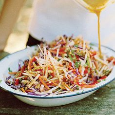 Make a light and delicious jicama slaw. This recipe combines jicama with carrot, bell pepper, and cabbage with a simple dressing.