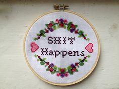 PATTERN MATURE Sht Happens Cross Stitch by stephXstitch on Etsy